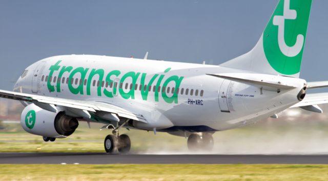 Transavia airplane during touchdown