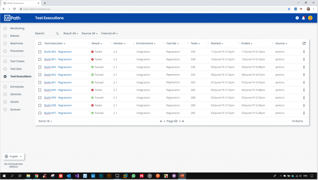 Orchestrator with new Test features for starting, grouping and scheduling tests. From UiPath Testing Platform - Vision & Mission Webinar
